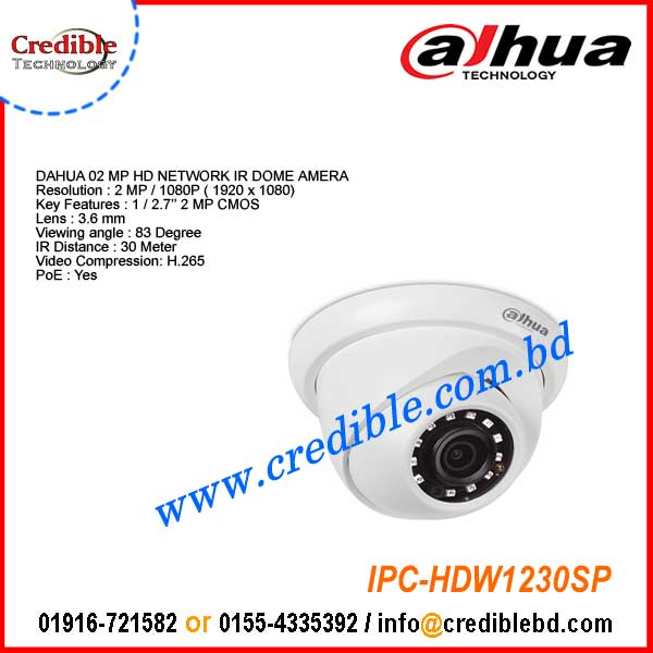 IPC-HDW1230SP Dahua 2MP IR DOME Network IP Camera